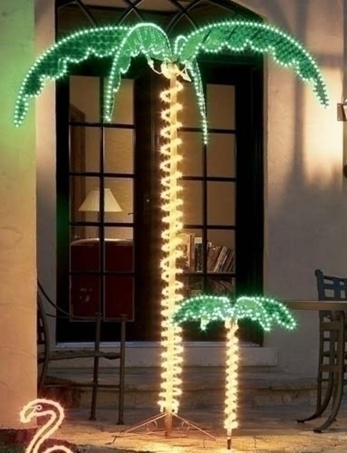 7' Tropical Lighted Holographic Rope Light Outdoor Palm Tree by Roman
