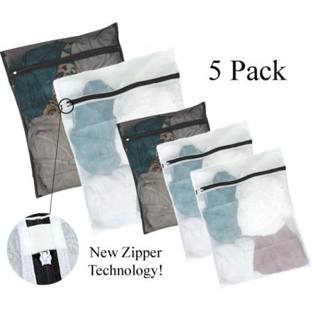 Mesh Laundry Wash Bags (5 Pack) 2 Large, 3 Medium Zippered Washing Machine Bags for Lingerie, Delicates and Bras - Black and White - Large Mesh Bags