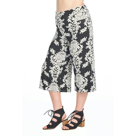 5c74827856a04 SHORE TRENDZ - Women s Plus Size Soft Capri Gaucho Pants Made in USA ...
