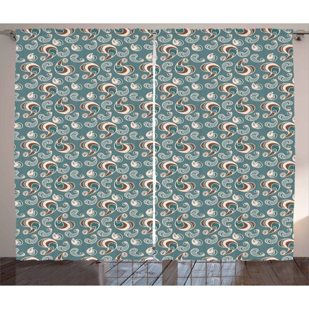 Brown And Blue Curtains 2 Panels Set Vintage Style Pattern With Abstract Shapes Little Dots Window D For Living Room Bedroom 108w X 96l