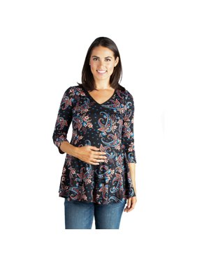21dbfb99f0ed33 Product Image Paisley   Sleeve Maternity Tunic Top. 24 7 Comfort Apparel