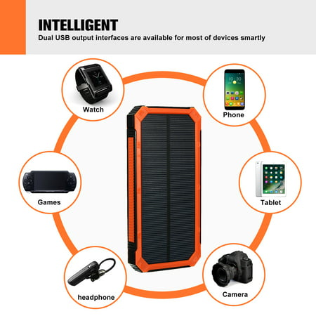 300000mAh Waterproof Solar Power Bank Dual USB Battery Phone Charger for Emergency Outdoor Camping Travel Portable   - image 5 of 12