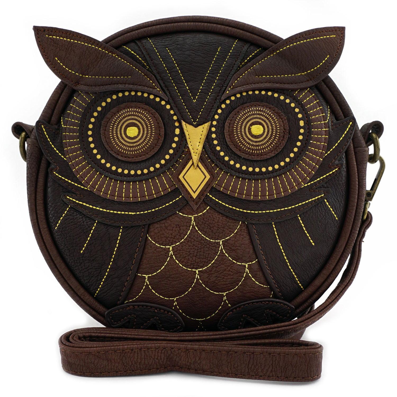 Loungefly Beautiful Brown Owl Face Crossbody  Purse PU Faux Leather Satchel Tote - image 1 de 1