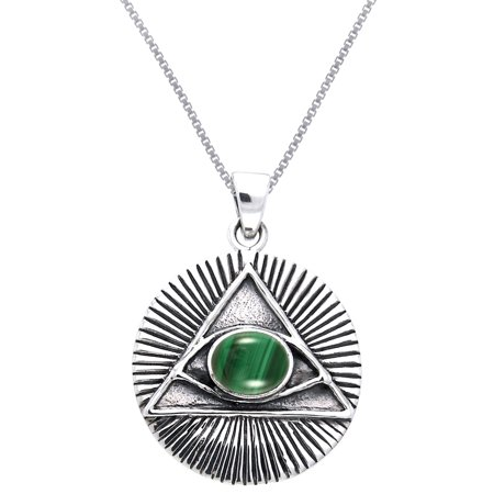 Egyptian Eye Horus - Sterling Silver with Malachite Eye of Horus Egyptian Pyramid Pendant on 18 Inch Box Chain Necklace