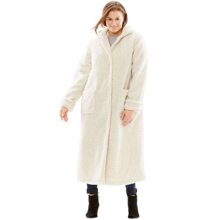 Plus Size Hooded Berber Fleece Duster Coat Berber Embroidered Jacket