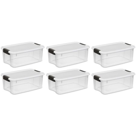 Base Camp Storage - 6 Pack Sterilite 18 Quart Ultra Latch Storage Box w/White Lid & See-Through Base
