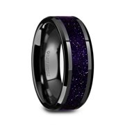 Melo Black Ceramic Beveled Polished Mens Wedding Band With Purple Goldstone Inlay