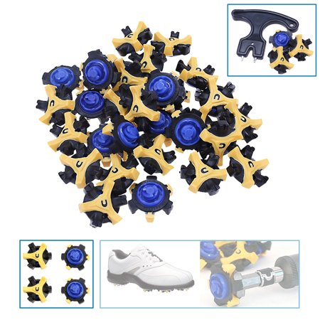 30PCS Golf Shoe Spikes Replacement Fast Twist Transparent for Footjoy with Removal Tool, Navy