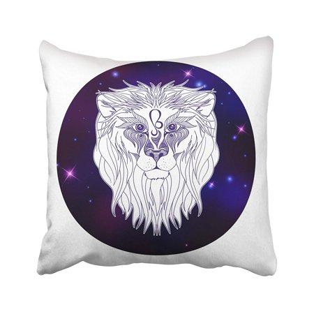 ARTJIA Abstract Leo Zodiac Sign Horoscope Symbol Animal Astrology Beautiful Calendar Creative Pillowcase Cover 18x18 inch