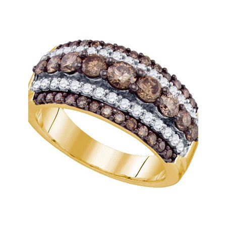 10kt Yellow Gold Womens Round Cognac-brown Color Enhanced Diamond Striped Cocktail Ring 1-1/2 Cttw - image 1 of 1