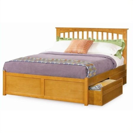 Flat Panel Footboard Natural (Pemberly Row Platform Bed with Flat Panel Footboard in Caramel Latte -Queen )