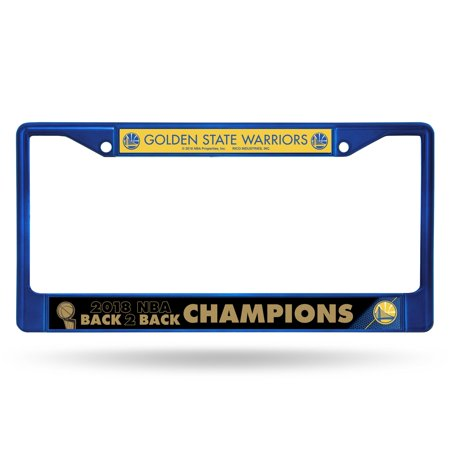 National Champions License Plate - Golden State Warriors Official NBA 2018 National Champions Blue License Plate Frame Chrome by Rico 389848
