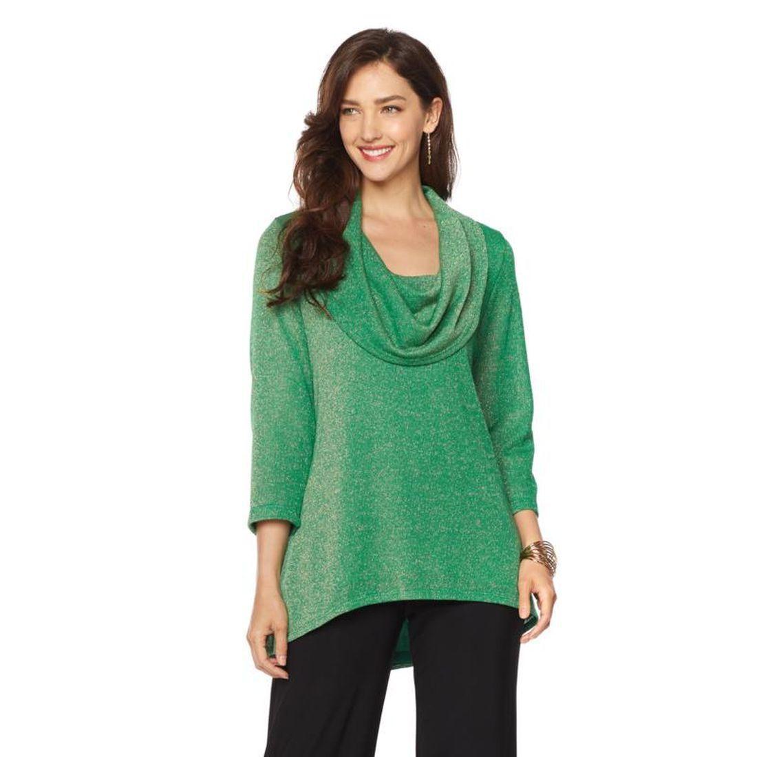 SLINKY BRAND 3/4-Sleeve Cowl Neck Sparkle Sweater EMERALD Size L