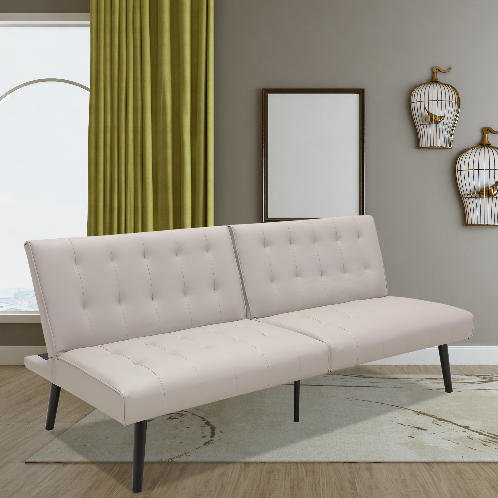 PU Leather Futon Couch of 2 Seats Modern Style Futons ...