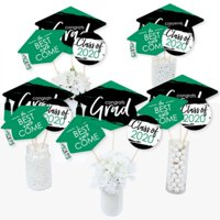 Green Grad - Best is Yet to Come - 2020 Green Graduation Party Centerpiece Sticks - Table Toppers - Set of 15