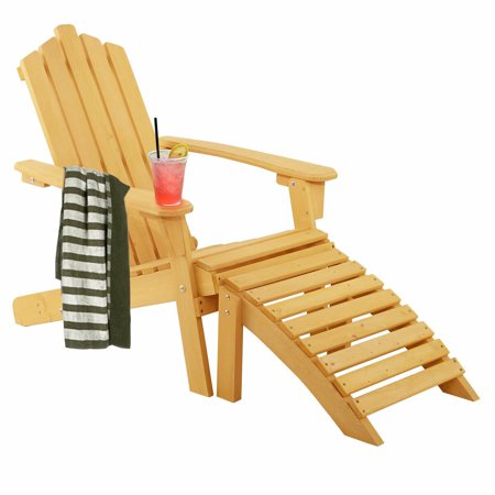 Gymax Outdoor Patio Wood Adirondack Chair w/ Ottoman