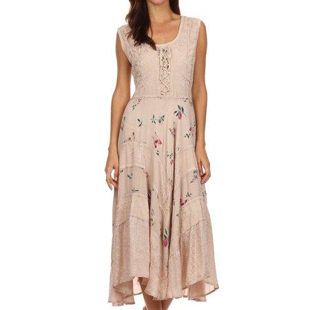 Garden Themed Dress (Sakkas Garden Goddess Corset Style Dress - Beige -)