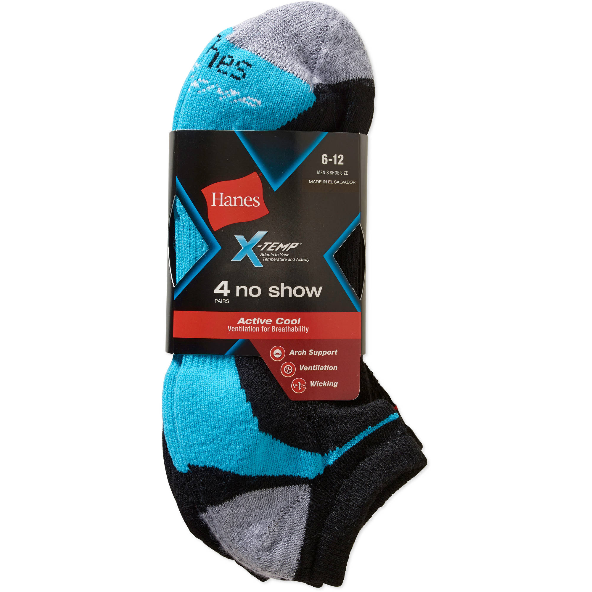 Details about  /4-Pack Hanes Men/'s X-Temp Arch Support Ventilation No-Show Socks Shoe size 6-12