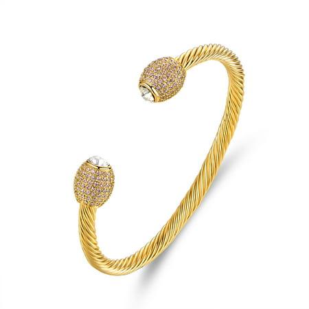 18K Gold Plated & Cubic Zirconia Open Cuff Bracelet