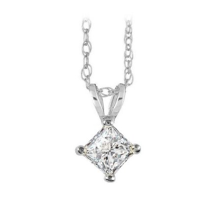 Lovebrightjewelry Free Chain With Princess Cut Diamond Solitaire Pendant