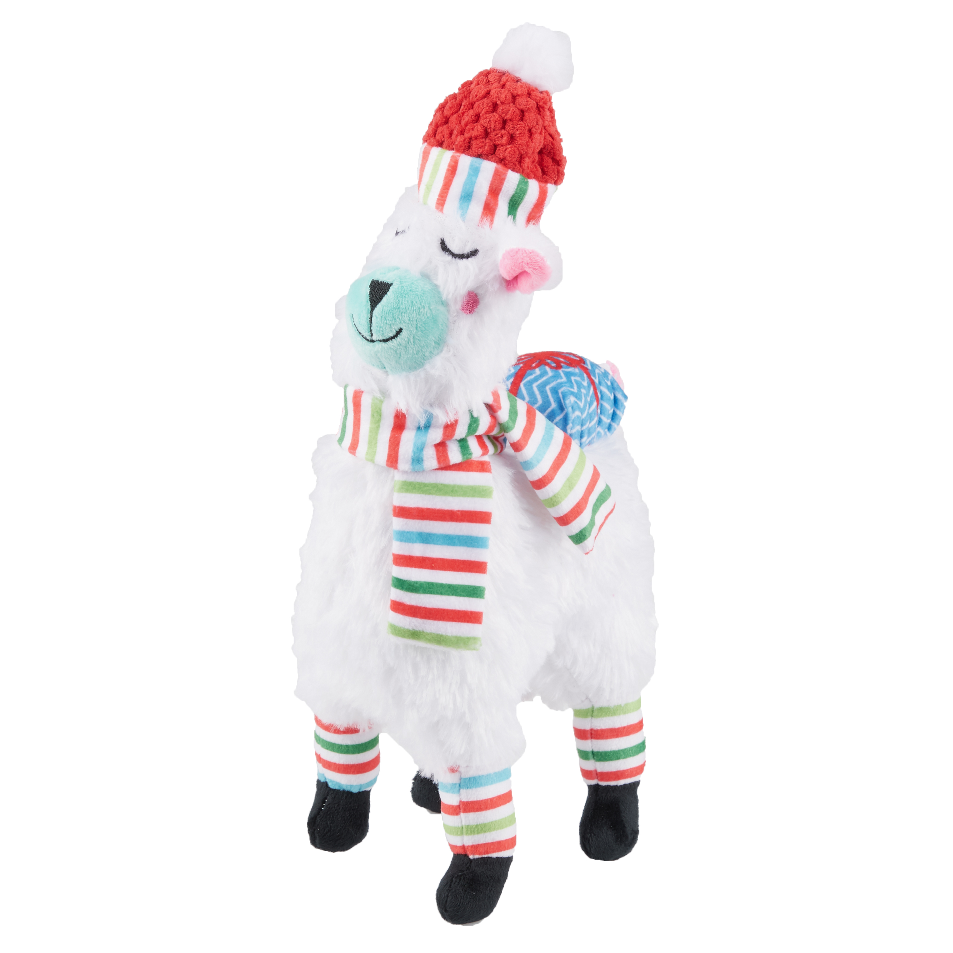 Winter Squeaky Plush Dog Toy, Llama with Stripes