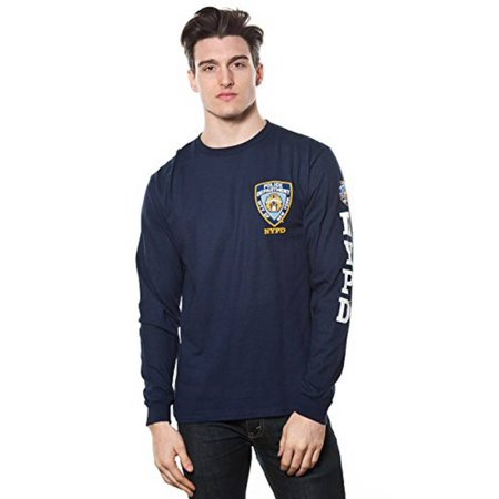 Adult Nypd Long Sleeve Tee with Logo Patch and Sleeve Print