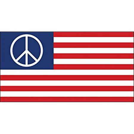 Peace Symbol Flag Sticker Decal (usa logo decal) Size: 3 x 6 inch - Peace Stickers