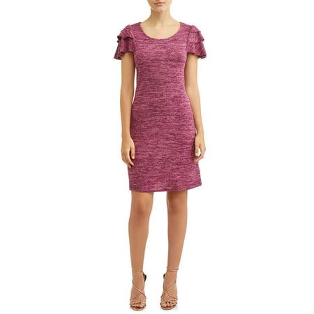 Women's Ruffled Sleeve Midi (Ruffled Tropical Print Dresses)