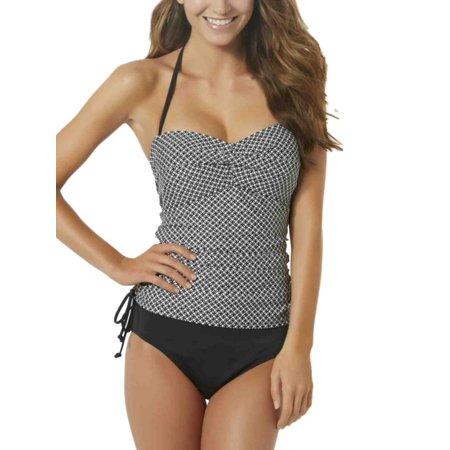 55d1567d82 Tropical Escape - Tropical Escape Womens 1 Piece Houndstooth Ruched Swim  Suit Tankini Swimsuit - Walmart.com