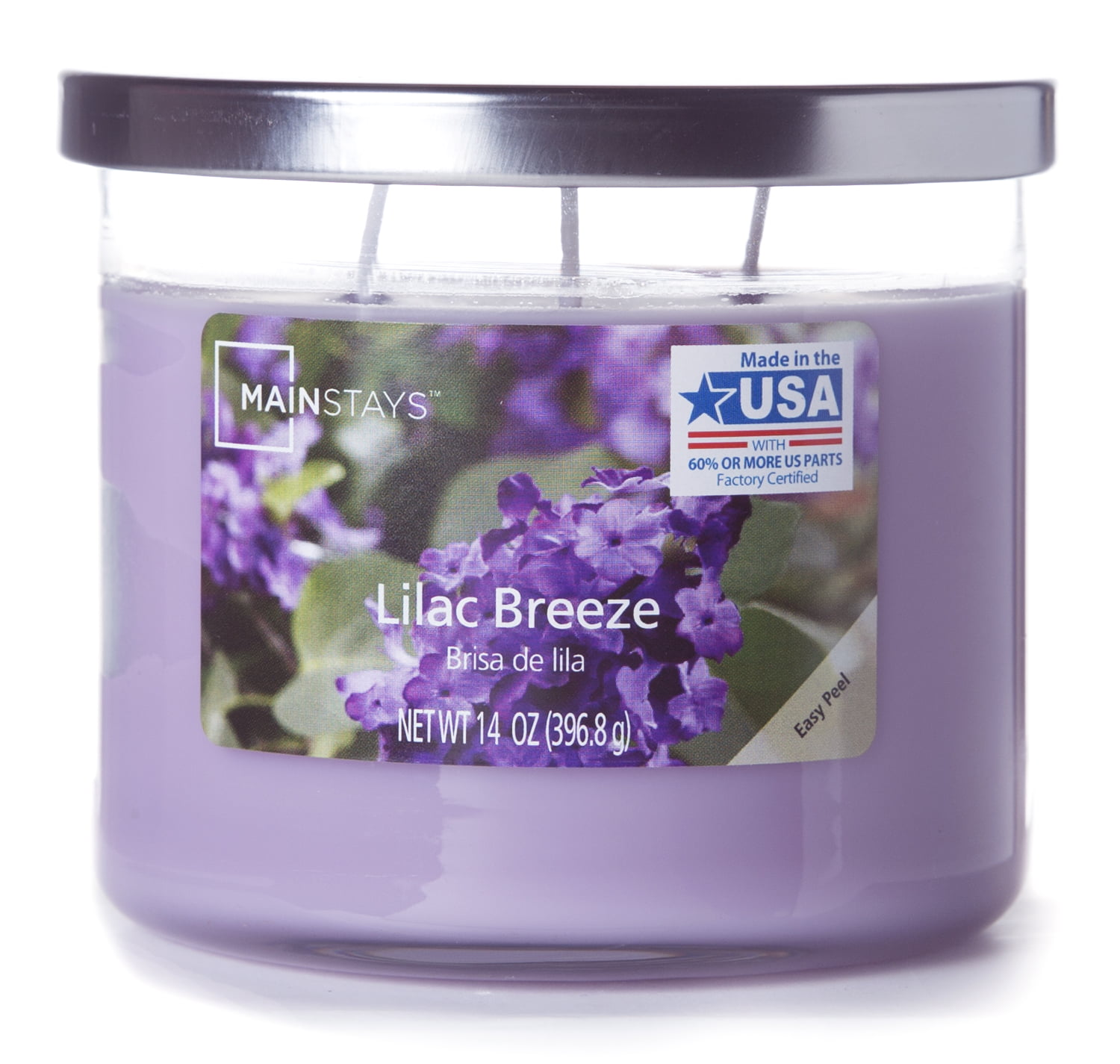 Mainstays Chrome Lid Jar Candle, Lilac Breeze, 14oz by Generic
