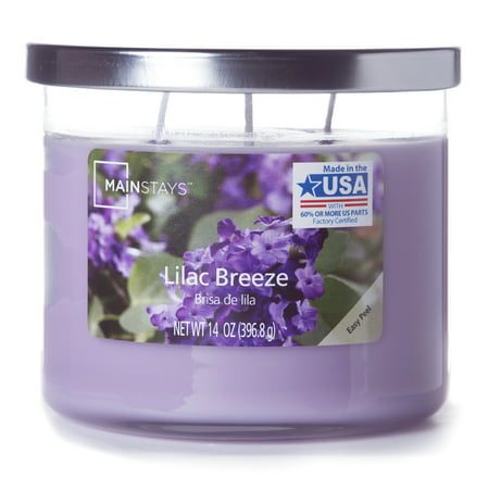 Mainstays Chrome Lid Jar Candle, Lilac Breeze, 14oz