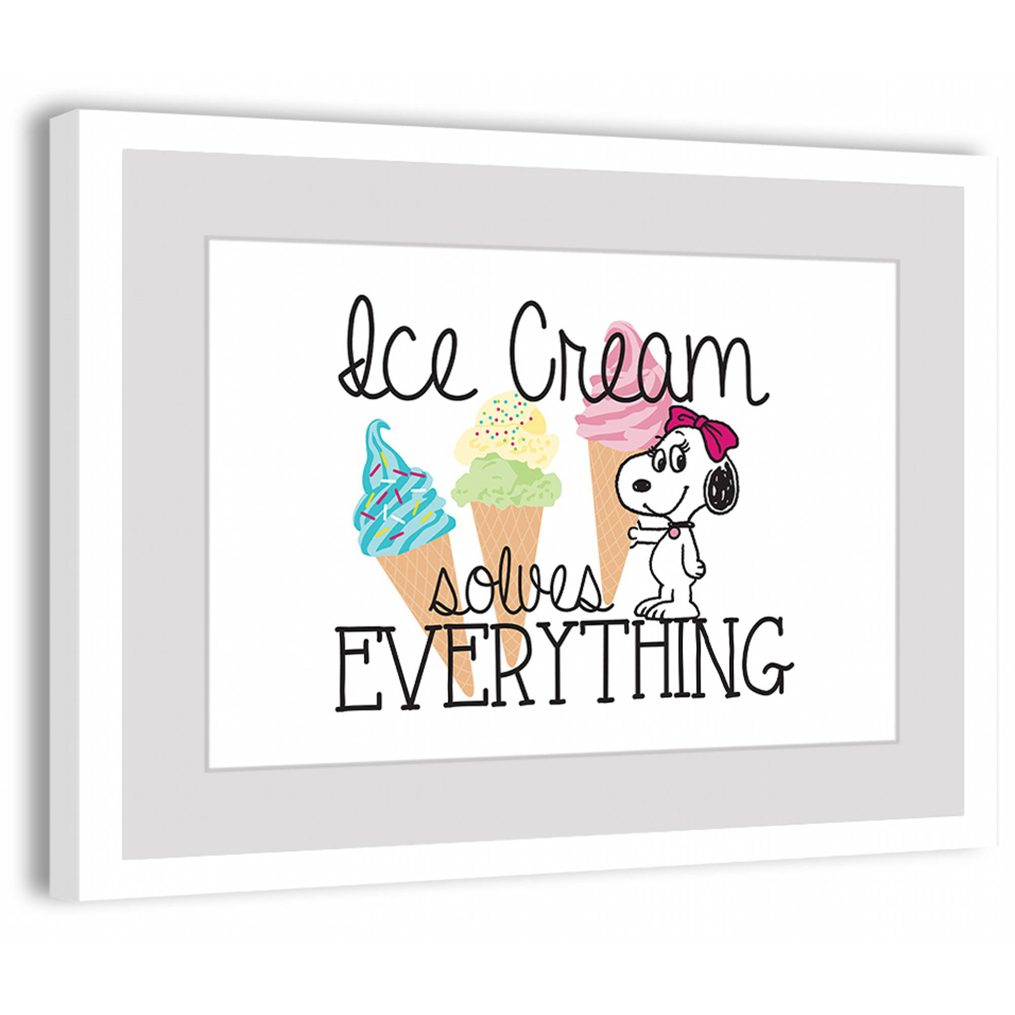 "Marmont Hill ""Belle Ice Cream Solves Everything"" Peanuts Framed Art Print"