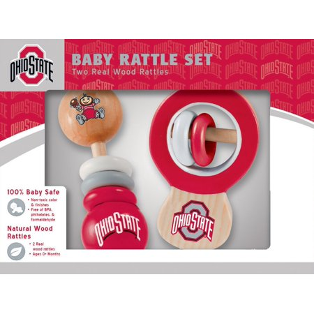 Ohio State 100% Baby Safe Wood 2 Rattle Set (Safe Toy Ideas For 12 24 Months)