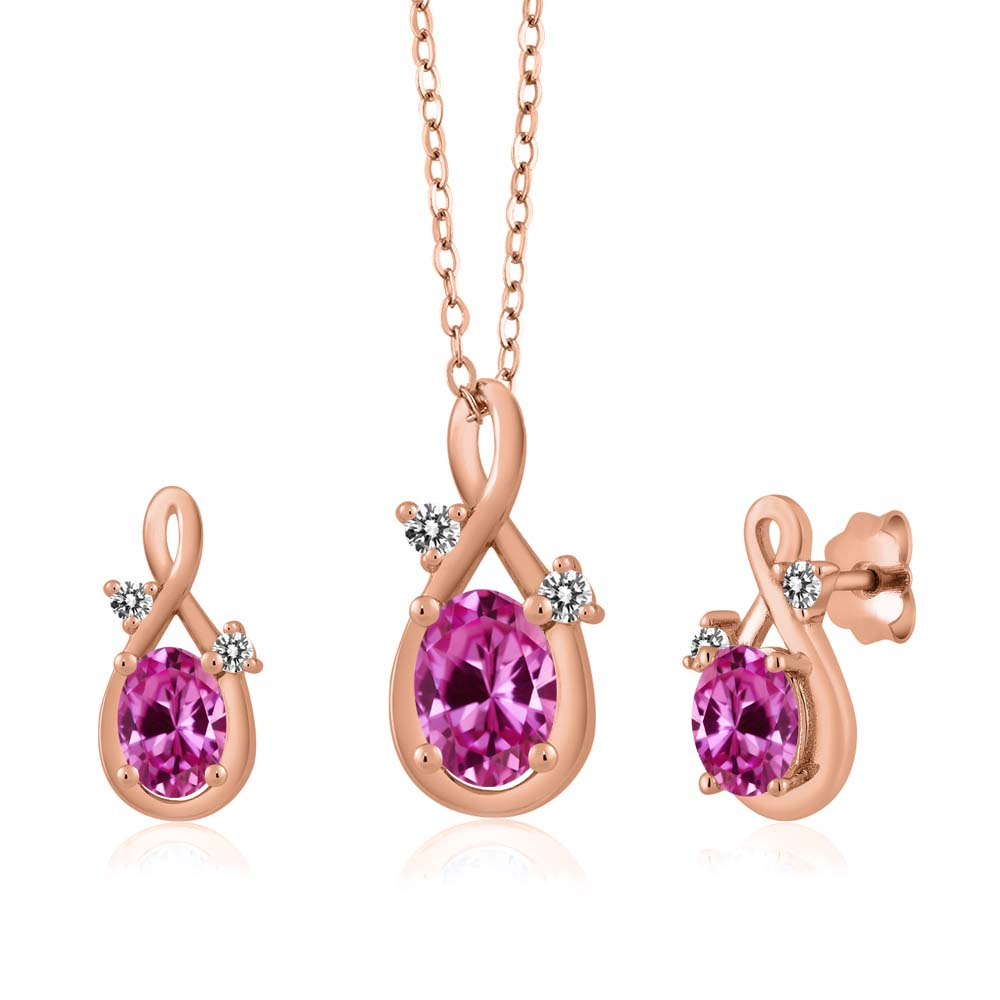 2.00 Ct Oval Pink Created Sapphire 18K Rose Gold Pendant Earrings Set by