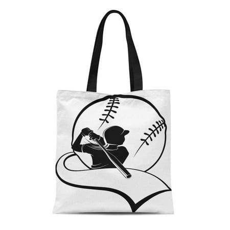 ASHLEIGH Canvas Tote Bag Silhouette Girl Softball Batter Pennant Ball Women Athlete Black Durable Reusable Shopping Shoulder Grocery Bag