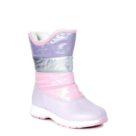 Wonder Nation Metallic Puffer Insulated Snow Boot (Little Girls & Big Girls)