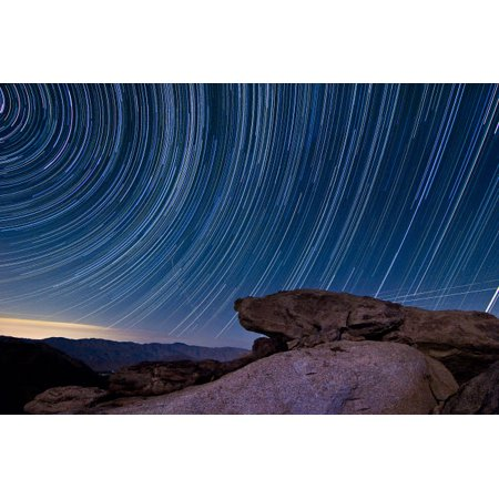 Star trails and a granite rock outcropping overlooking Anza Borrego Desert State Park Poster Print by Dan BarrStocktrek Images Anza Borrego Desert State Park