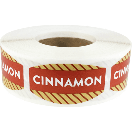 Cinnamon Grocery Store Food Labels .75 x 1.375 Inch Oval Shape 500 Total Adhesive (Best Grocery Store Cinnamon Rolls)