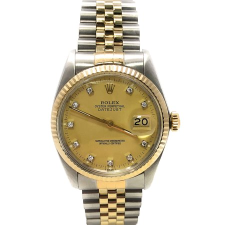 Datejust 16013 Champagne Diamond dial and an 18kt Yellow Gold Fluted Bezel (Certified Pre-Owned) 18kt Yellow Gold Diamond Bezel