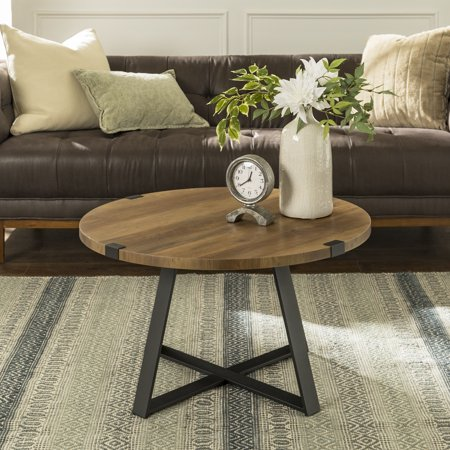 Manor Park Rustic Round Wood And Metal Coffee Table Reclaimed