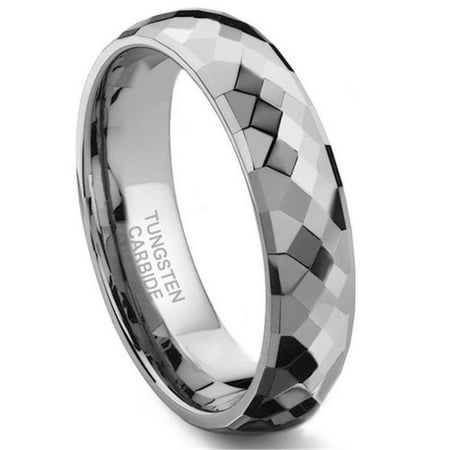 Tungsten Carbide 6MM Faceted Wedding Band Ring Sz 10.0 - Faceted Tungsten Carbide Fashion Ring