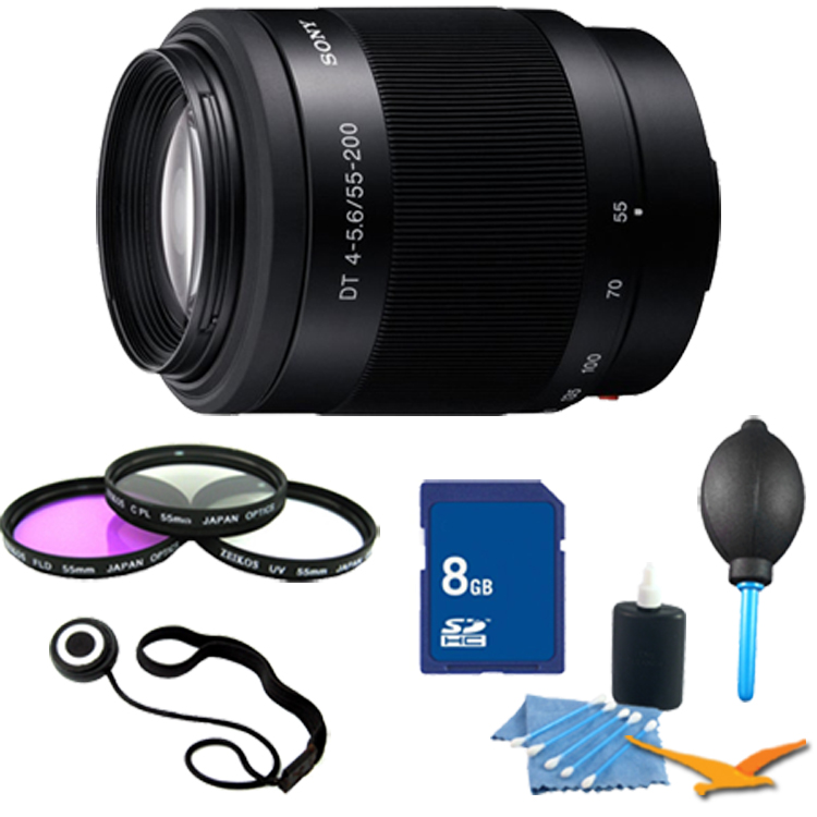 Sony SAL55200 DT 55-200mm f4-5.6 Compact Telephoto Zoom Lens Essentials Kit. Kit Includes Lens, Filter Kit, 8 GB Memory Card, 3 Pcs. Lens Cleaning Kit, Lens Cap Keeper, and Professional Blower / Dust