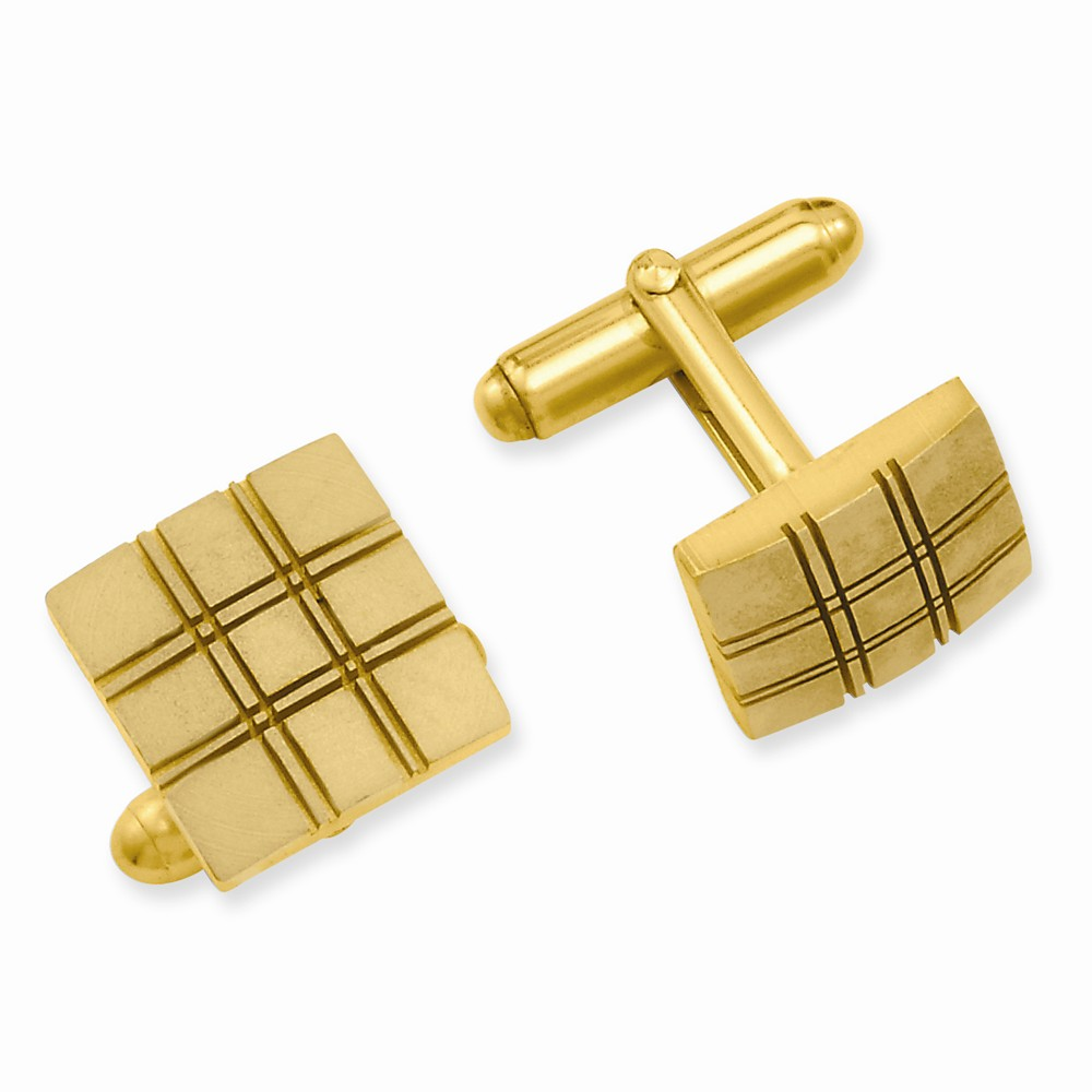 Gold-plated Square Double Lines Cuff Links w/ a Lovely Leatherrete Gift Box