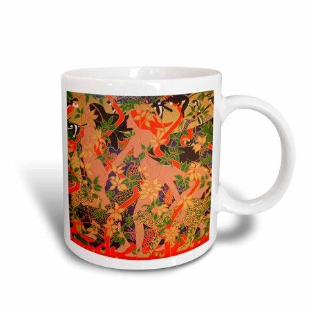 Nouveau Ceramic - 3dRose Diana, Minerva and Vesta - mythology monkeys, magpies, leopards, big cats, art nouveau, goddess, Ceramic Mug, 11-ounce