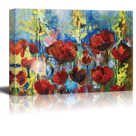 Canvas Prints Wall Art - Red Poppy of Spring in Oil Painting Style | Modern Wall Decor/Home Decoration Stretched Gallery Canvas Wrap Giclee Print & Ready to Hang - 16