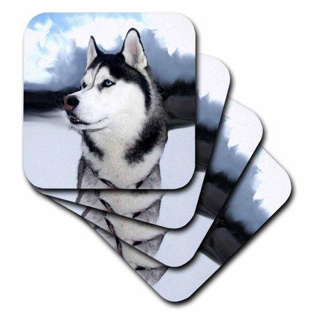 3dRose Siberian Husky, Soft Coasters, set of 8 by