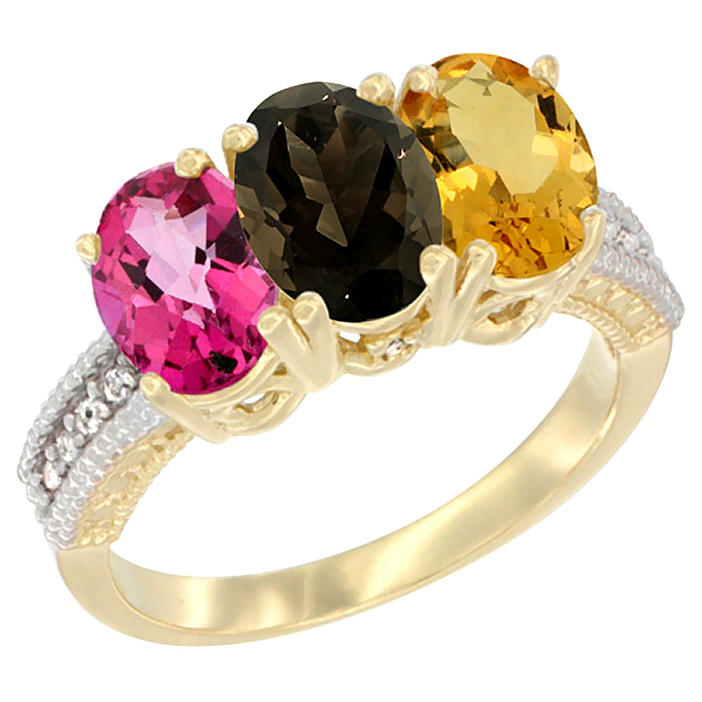 10K Yellow Gold Diamond Natural Pink Topaz, Smoky Topaz & Citrine Ring 3-Stone Oval 7x5 mm, sizes 5 10 by WorldJewels