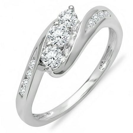 Dazzlingrock Collection 0.50 Carat (ctw) 18k Round Diamond Swirl Engagement 3 Stone Bridal Ring 1/2 CT, White Gold, Size