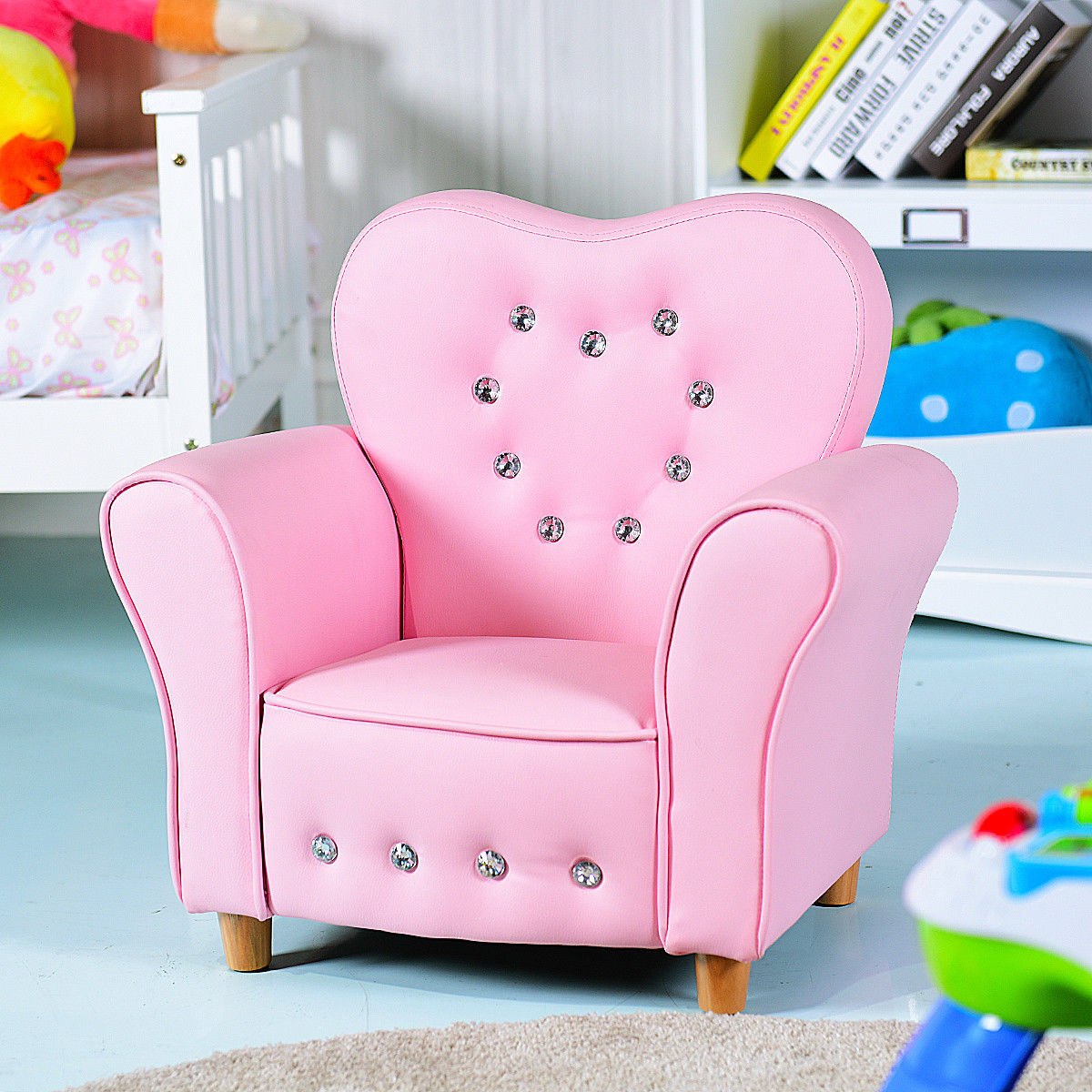 Gymax Pink Kids Teen Sofa Armrest Chair Couch Children Toddler