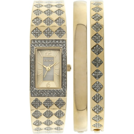 Women's Gold-Tone White Mother of Pearl Dial Round Crystal Accented Double Bangle Watch -